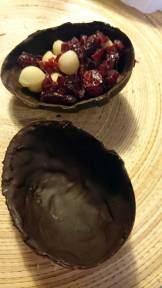 Dark chocolate with macadamia nuts and cranberries