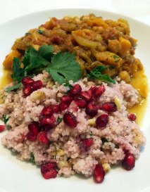 Sweet potato, chickpea and aubergine tagine with pomegranate and herb cous cous.