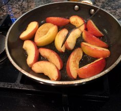 Apples for tart tatin with toffee sauce.