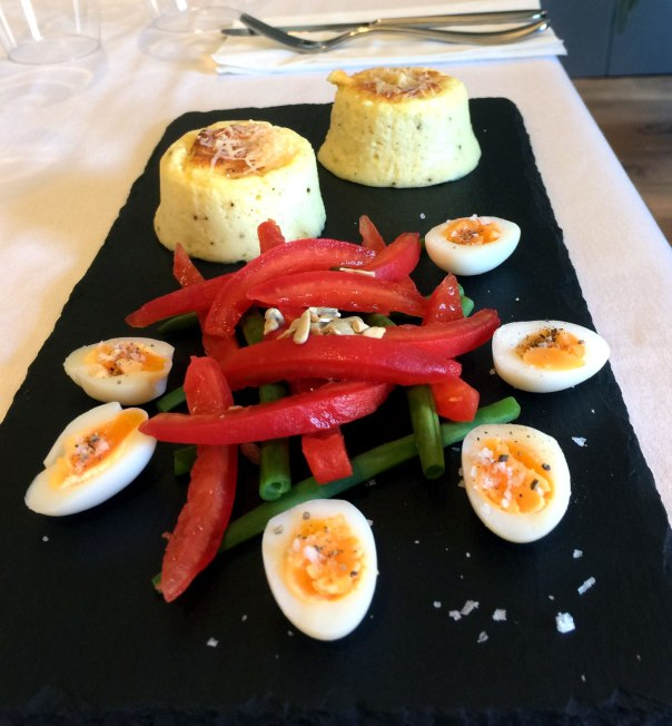 Parsnip and goat's cheese souffle with a tomato, green bean and caper salad.