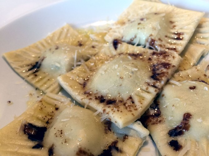 Butternut squash, pine nut and sage ravioli served with balsamic butter.