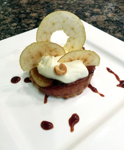 Apple tart tatin with toffee sauce.